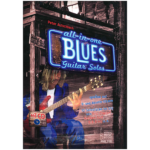 Bladmuziek Acoustic Music Books All in One. Blues Guitar Solos für E- und Akustik-Gitarre