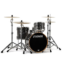 "Sonor ProLite 20"" Ebony White Stripes 3 Pcs. Shell Set With Mount « Batería"