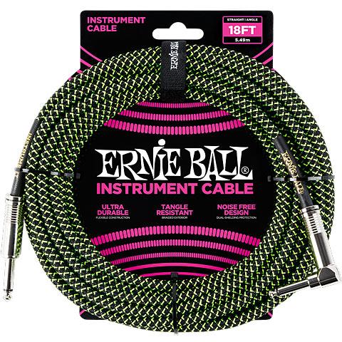 Instrumentenkabel Ernie Ball Gewebekabel EB6082 6m schwarz/grün