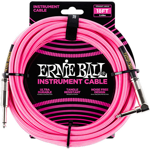 Instrumentenkabel Ernie Ball Gewebekabel EB6083 6m Neon Pink
