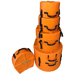 Hardcase Colored Fully Lined 10/12/14/20/14 Orange Drum Case Set « Drum Cases