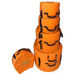Hardcase Colored Fully Lined 22/10/12/16/14 Orange Drum Case Set « Drum Cases