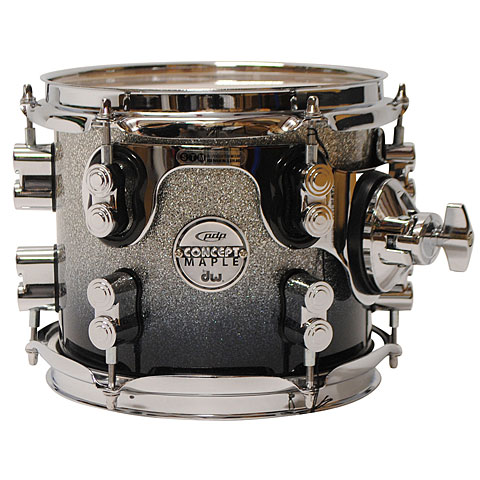 "Tom pdp Concept Maple 8"" x 7"" Silver to Black Sparkle Fade Tom Tom"