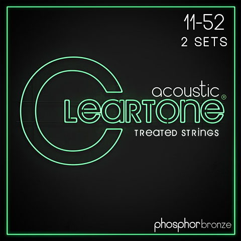 Saiten Westerngitarre Cleartone Acoustic Phos-Bronze Custom Light 11-52 2-Pack