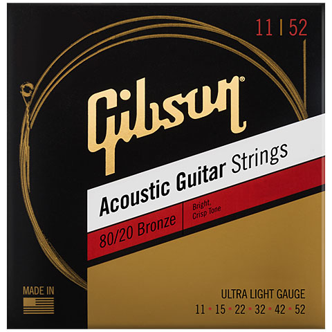 Corde guitare folk Gibson 80/20 Bronze 011-052