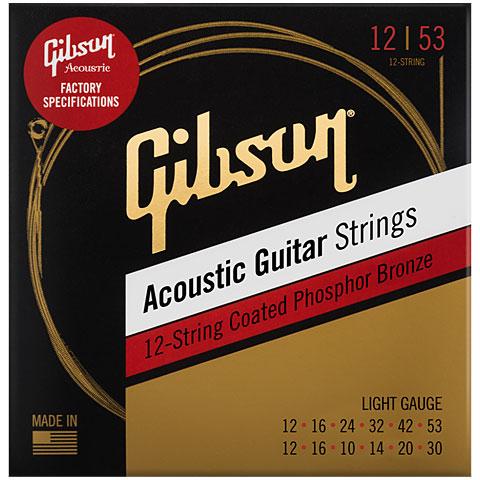 Corde guitare folk Gibson SAG-PB12L 12 Str. Phosphor Bronze coated, 012-053