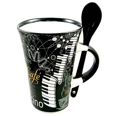 Tazas Little Snoring Cappuccino Mug With Spoon - Piano Black