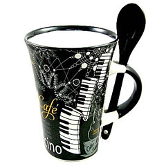 Little Snoring Cappuccino Mug With Spoon - Piano Black « Tazas