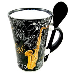 Little Snoring Cappuccino Mug With Spoon - Saxophone Black
