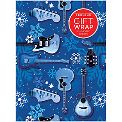 Hal Leonard Wrapping Paper - Blue Guitars & Snowflakes Theme