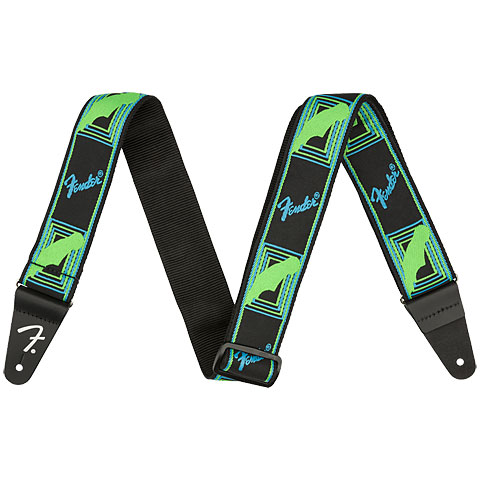 Gitarrengurt Fender Neon Monogrammed Strap Neon Green/Neon Blue