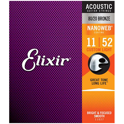 Elixir Nanoweb Bronze Custom Light .011-052