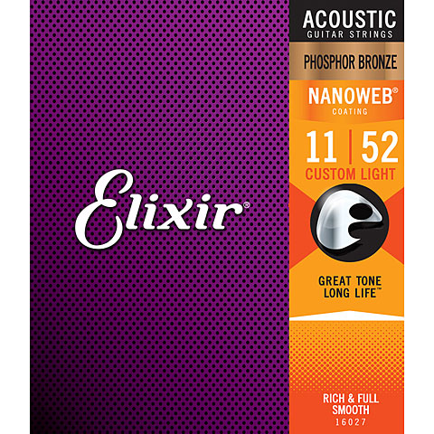 Elixir Nanoweb Phosphor Bronze Custom Light .011-052