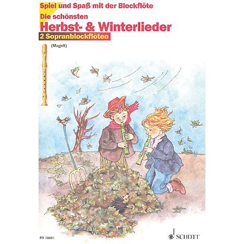 Schott Die schönsten Herbst- & Winterlieder für 2 Sopranblockflöten