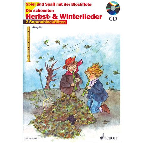 Schott Die schönsten Herbst- & Winterlieder für 2 Sopranblockflöten + CD