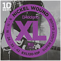 Electric Guitar Strings D'Addario EXL120-10P Nickel Wound .009-042 ProPack