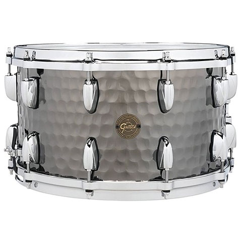 "Snare Drum Gretsch Drums Full Range 14"" x 8"" Hammered Black Steel Sn"